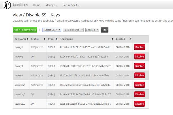 Disable SSH Keys